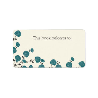 "Blue Floral ""This Book Belongs To"" Labels"