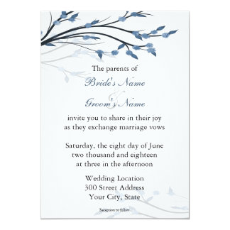 Blue Floral Tree Branches Wedding Invitations