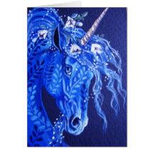 Blue floral Unicorn Greeting Card