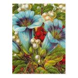 """Blue Floral"" Vintage Flowers Postcard"