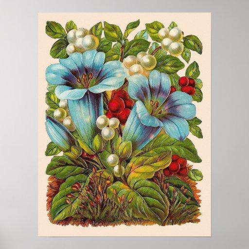 """""""Blue Floral"""" Vintage Flowers Poster"""