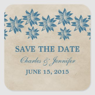 Blue Floral Vintage Save the Date Stickers