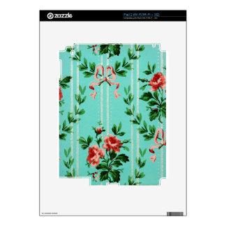 Blue Floral Vintage Wallpaper iPad 2 Skin