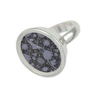 Blue Floral W.Morris Pattern Silver Ring