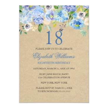 Beach Themed Blue Floral Watercolor 18th Birthday Invite