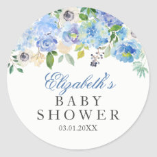 Blue Floral Watercolor Baby Shower Sticker