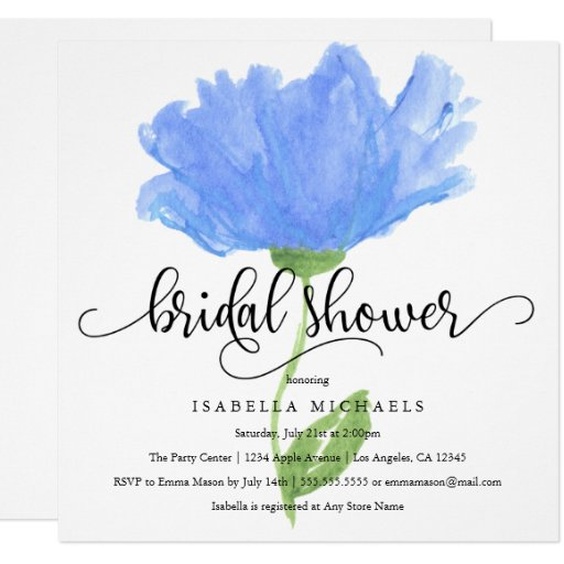 Blue Floral Watercolor Bridal Shower Invite
