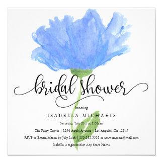 Blue Floral Watercolor   Bridal Shower Invite