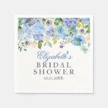 Blue Floral Watercolor Bridal Shower Napkins
