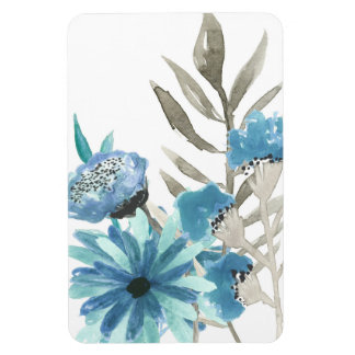 Blue Floral Watercolor Rectangular Photo Magnet