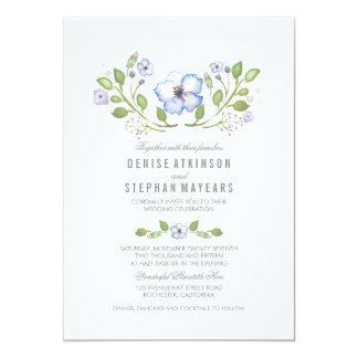 Blue Floral Watercolor Wedding Invitations