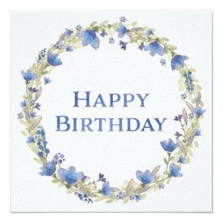 Blue Floral Watercolor Wreath Happy Birthday Card