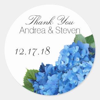 Blue Floral Wedding Favor Thank You Labels