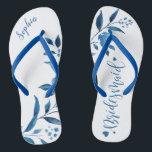 "Blue floral wedding party bridesmaid flip flops<br><div class=""desc"">Cute blue floral Bridesmaid flip flops for bride team,  great personalized bridal party gifts.</div>"