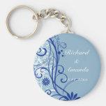 Blue Floral Wedding Swirls Basic Round Button Keychain