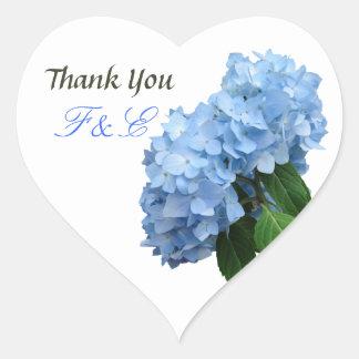 Blue Floral Wedding Thank You Initials Sticker