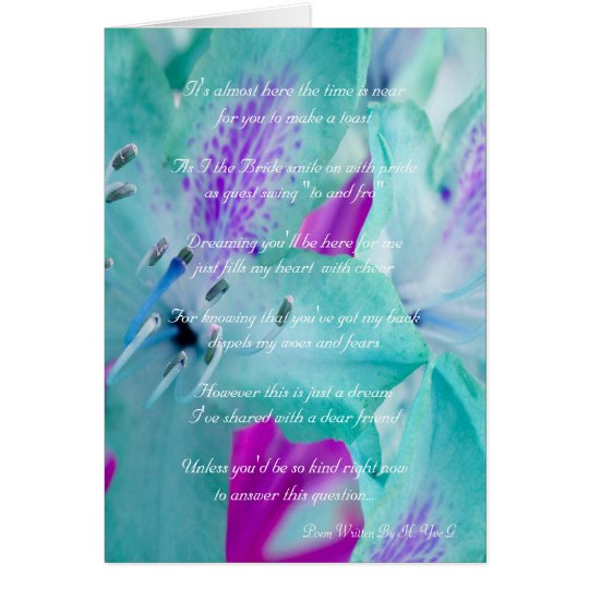 Blue Floral Will You Be My Bridesmaid Card