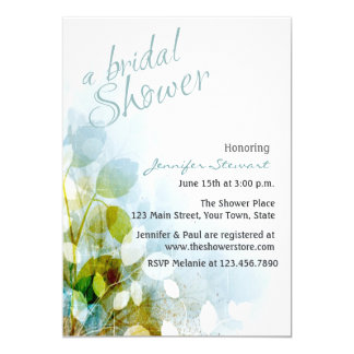 Blue Floral with Leaves Bridal Shower Card