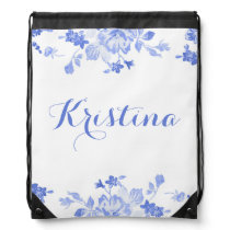 Blue Floral with Name Drawstring Bag