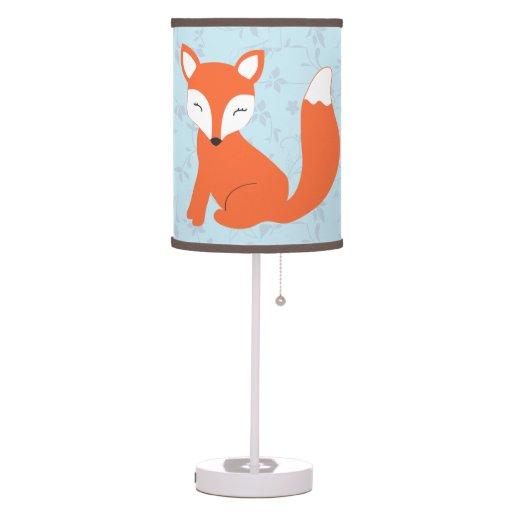 Blue Floral Woodland Fox Nursery Table Lamps