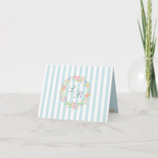 Blue Floral Wreath and Monogram Note Card