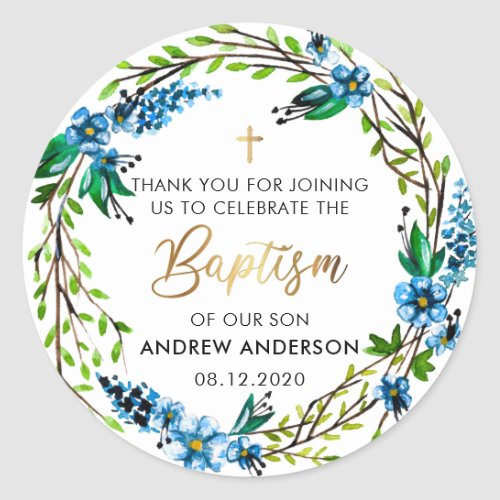 Blue Floral Wreath Baptism Thank You Classic Round Sticker