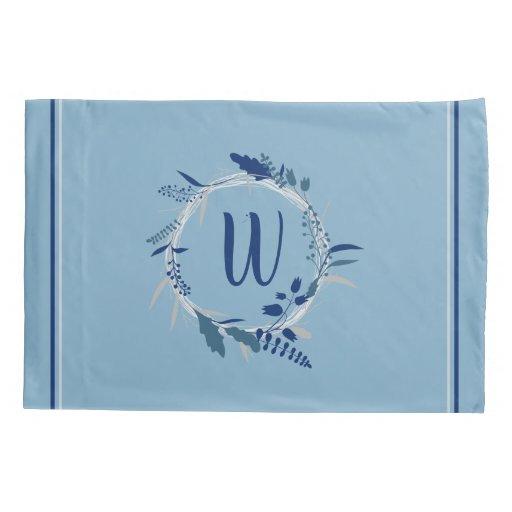 Blue Floral Wreath Custom Monogram Stripes Pillow Case