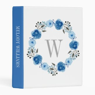 Blue Floral Wreath Mini Binder