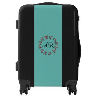 Blue floral wreath monogram luggage trolley