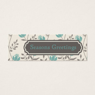 Blue Florals Gift Tags, Profile Cards