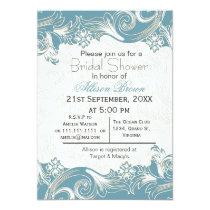 blue florals spring Bridal shower Card