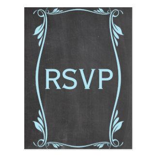 Blue Flourish Chalkboard RSVP Postcard