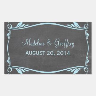 Blue Flourish Chalkboard Wedding Stickers