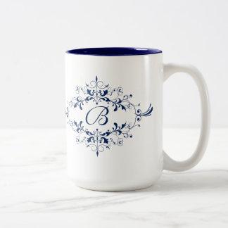 Blue Flourish Monogram Mug