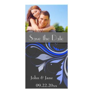 "Blue Flourish/photo  ""Save the Date"" Card"