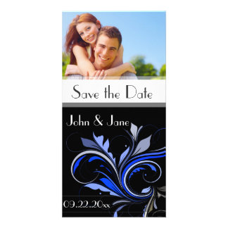 """Blue Flourish /photo """"Save the Date"""" Personalized Photo Card"""