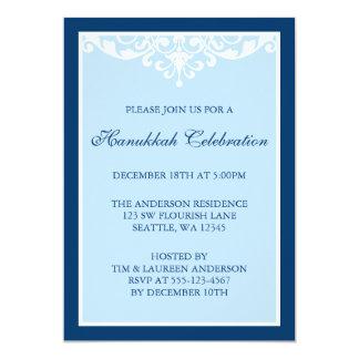 Blue Flourish Scroll Hanukkah Holiday Party 5x7 Paper Invitation Card