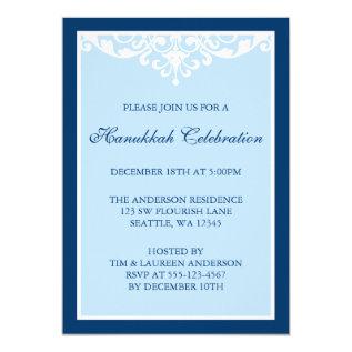 Blue Flourish Scroll Hanukkah Holiday Party Card at Zazzle