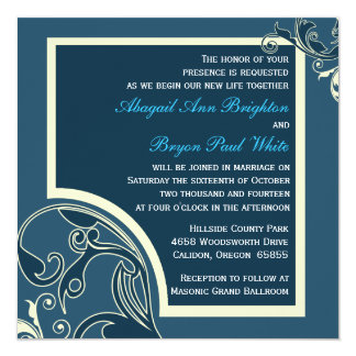 Blue Flourish Square Wedding Invitation