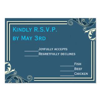 Blue Flourish Square Wedding RSVP Card