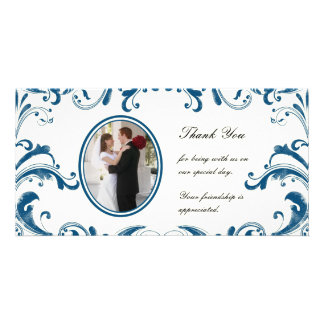 Blue Flourishes Photo Card