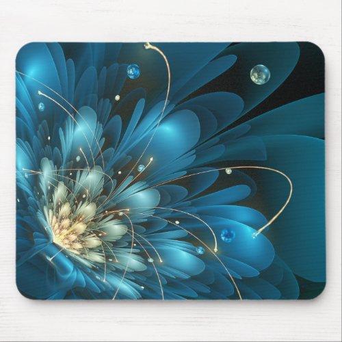 Blue flower 3d - fractal impression. mouse pad
