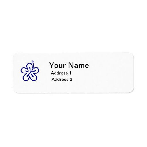 blue flower address label