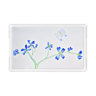 Blue Flower and Butterfly Rectangle Serving Trays