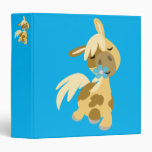 Blue Flower and Cute Cartoon Pony 3 Ring Binder