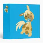 Blue Flower and Cute Cartoon Pony 3 Ring Binder
