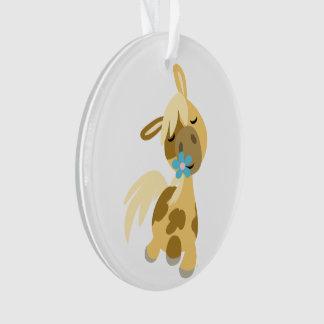 Blue Flower and Cute Cartoon Pony Acrylic Ornament