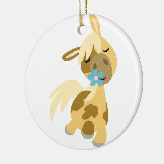 Blue Flower and Cute Cartoon Pony Ornament