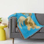 Blue Flower and Cute Cartoon Pony Throw Blanket