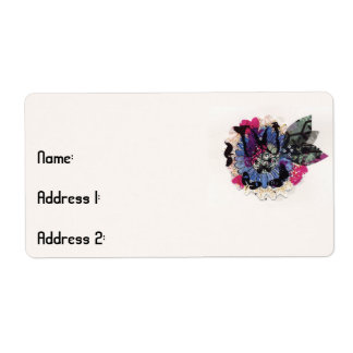 Blue Flower and Leaves Label
